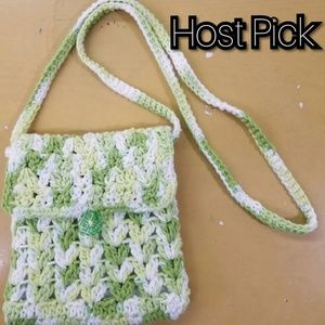 Hand Crocheted Green/White Purse W/Liner